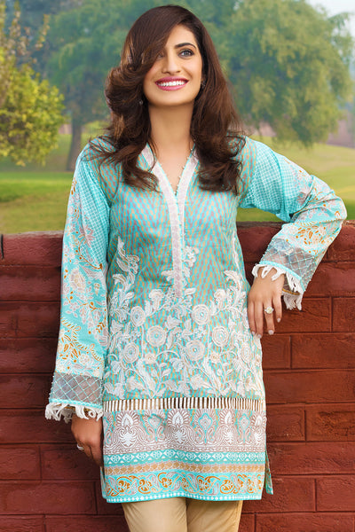Turquoise 2 Pc Embroidered Lawn Dress TL-55