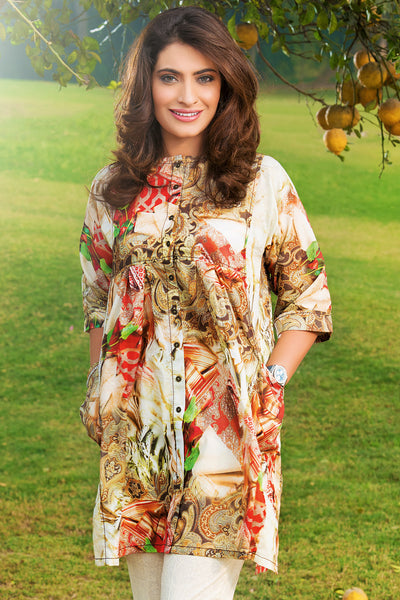 Brown 2 Pc Digital Print Lawn Dress TL-70