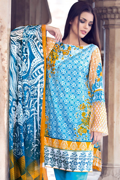 Turquoise 3 Pc Embroidered La Chiffon Dress C-419