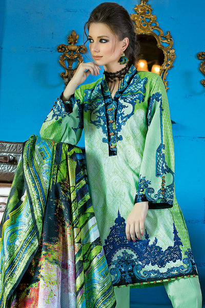 Green 3 Pc Printed Digital Silk Dress DG-20