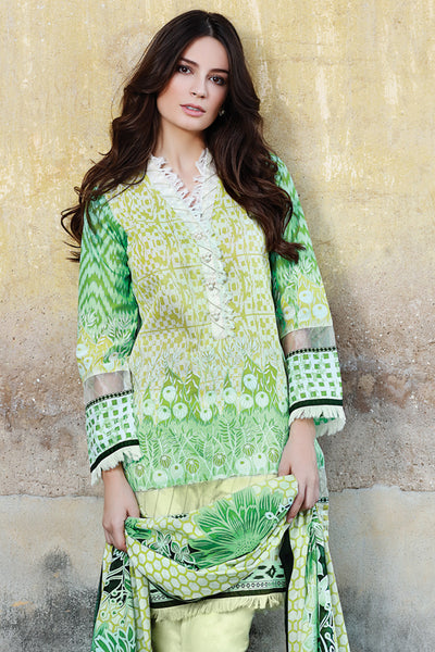 Green 3 Pc Printed Lawn Dress CL-203 A