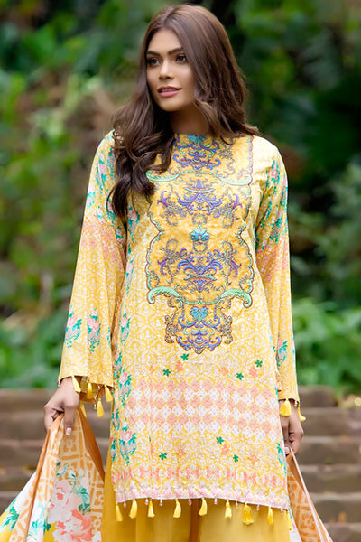 Yellow 3 Pc Embroidered Lawn Dress CL-221 A