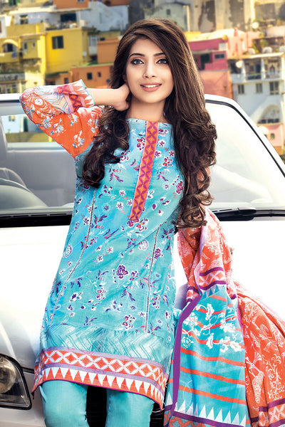 Turquoise 3 Pc Embroidered Lawn Dress CL-230 A