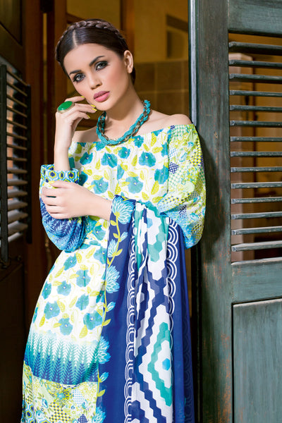 Turquoise 2 Pc Printed Lawn TL-74 A