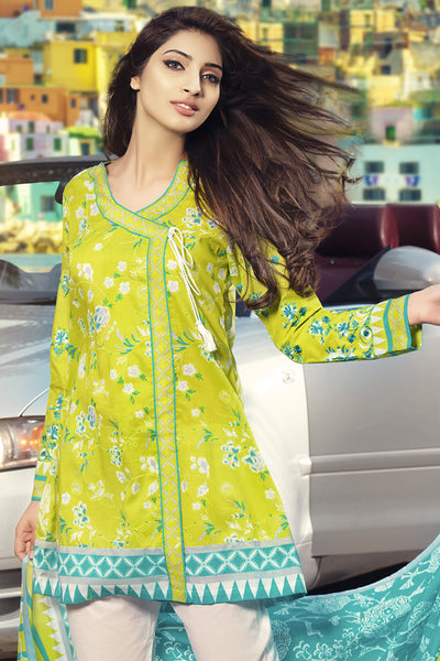 Parrot Green 3 Pc Embroidered Lawn Dress CL-230 B