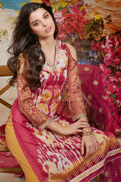 Maroon 3 Pc Premium Embroidered Chiffon Dress PM-157