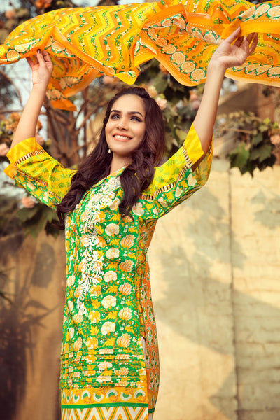 Yellow 3 Pc Embroidered Lawn Dress CL-206 A