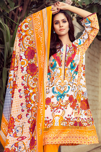 Yellow 3 Pc Printed Lawn Dress CL-220 B