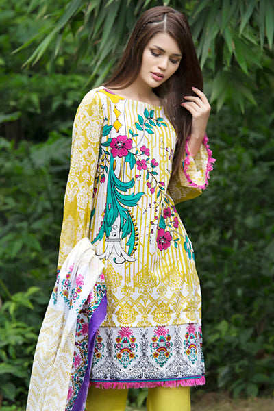 Parrot Green 3 Pc Printed Lawn Dress CL-255 A