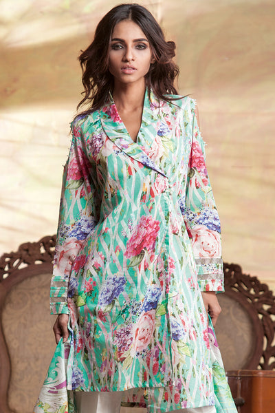 Sea Green 3 Pc Digital Print Lawn Dress CL-236