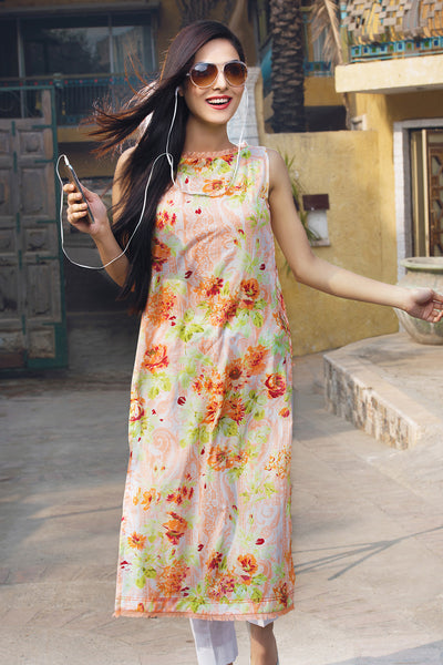 Peach 1 Pc Printed Lawn Single SL-319 A
