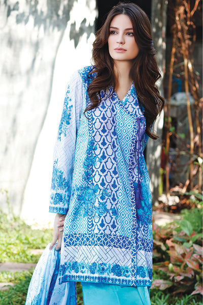 Blue 3 Pc Printed Lawn Dress CL-216 C