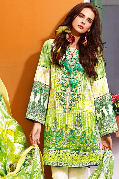 Green 3 Pc Embroidered Chantilly De Lace Dress CT-199