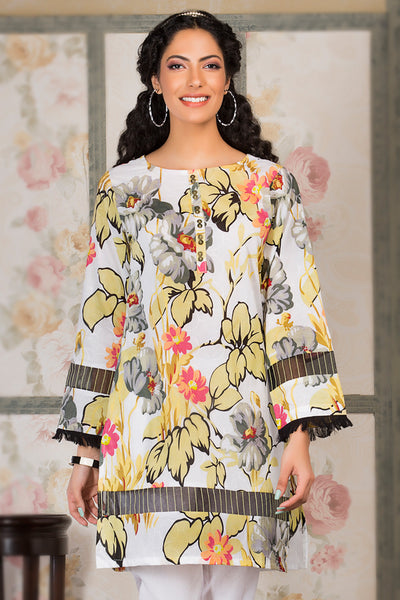 White 1 Pc Embroidered Lawn Single SL-346 A
