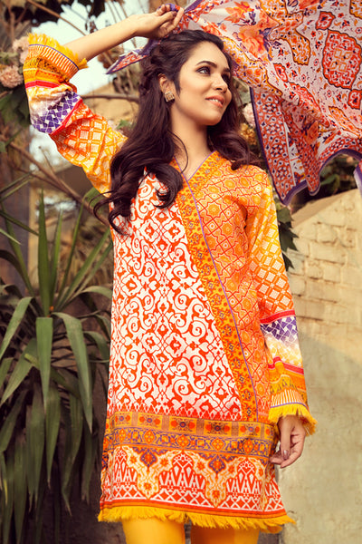 Orange 3 Pc Printed Lawn Dress CL-212 B