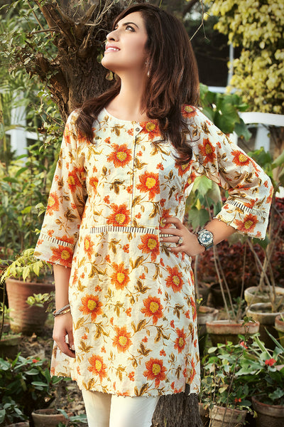Orange 2 Pc Embroidered Lawn Dress TL-63 B
