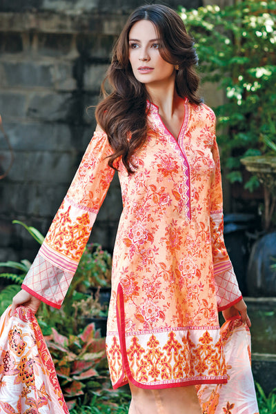Light Orange 3 Pc Printed Lawn Dress CL-208 B
