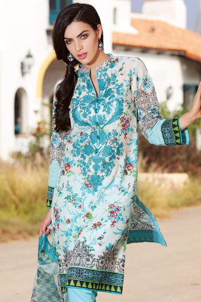 Turquoise 3 Pc Embroidered La Chiffon Dress C-434