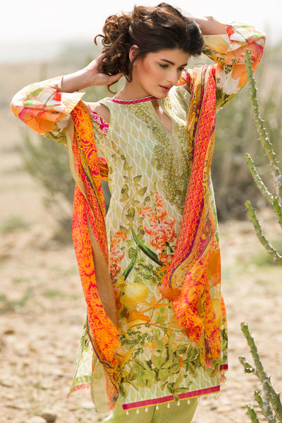 Green 3 Pc Embroidered La Chiffon Dress C-476