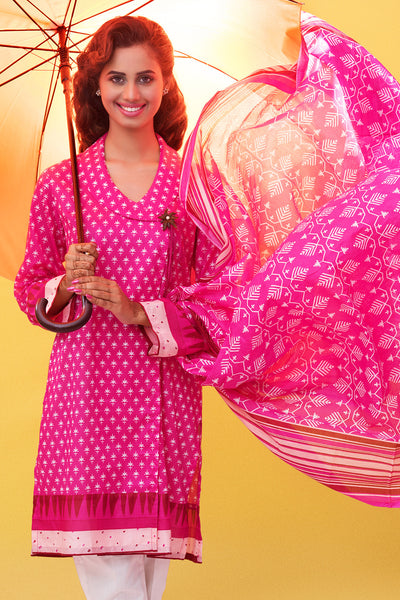 Hot Pink 2 Pc Printed Lawn TL-54 A