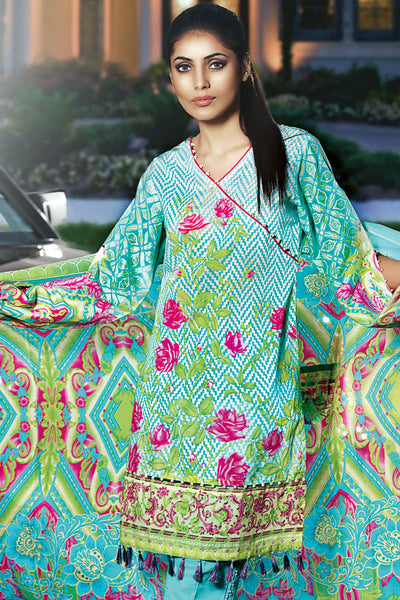 Turquoise 3 Pc Printed Lawn Dress CL-225 B