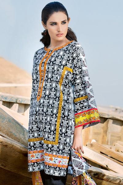 Black 2 Pc Printed Lawn TL-82 A