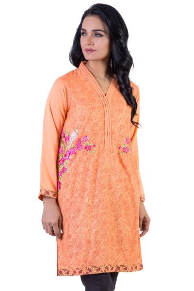 Orange Embroidered Block Print Viscose Shirt GLW-16-01