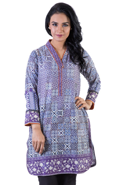 Purple Digital Print Cambric Shirt GLS-16-025 (DP)