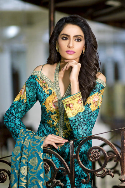 Green 3 Pc Premium Embroidered Chiffon Dress PM-142