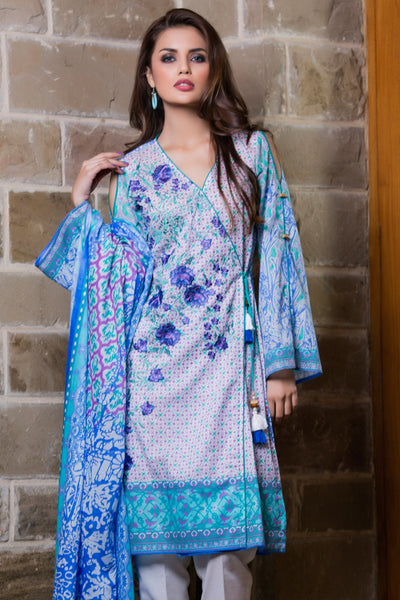 Turquoise 2 Pc Embroidered Lawn Dress TL-87 B