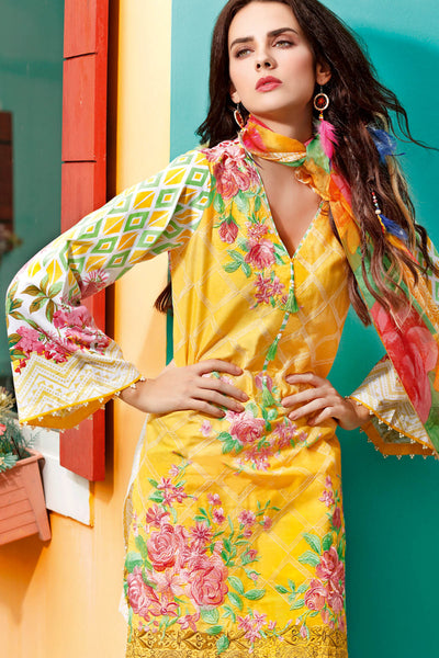 Yellow 3 Pc Embroidered La Chiffon Dress C-475