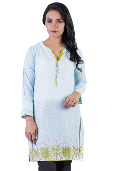 Sky Blue Embroidered Lawn Organza Shirt GLS-16-081