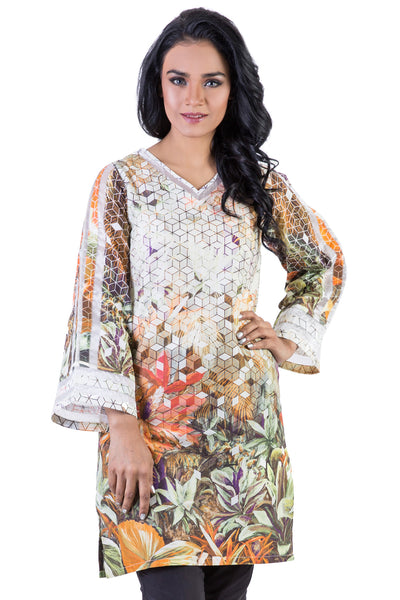 White Tropical Amazon Digital Cambric Organza Shirt GLS-16-112 DP