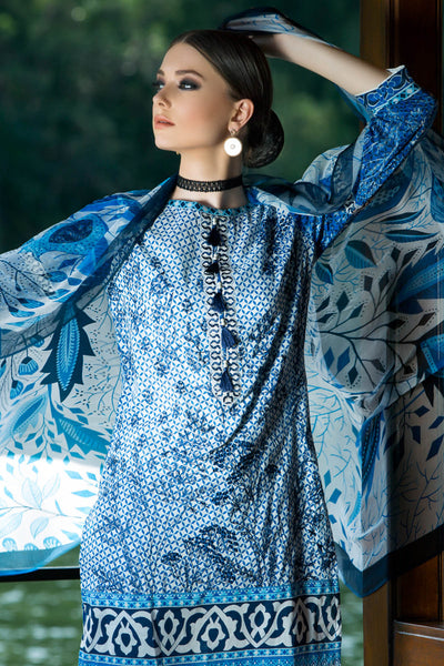 Blue 3 Pc Embroidered La Soie Dress AS-02