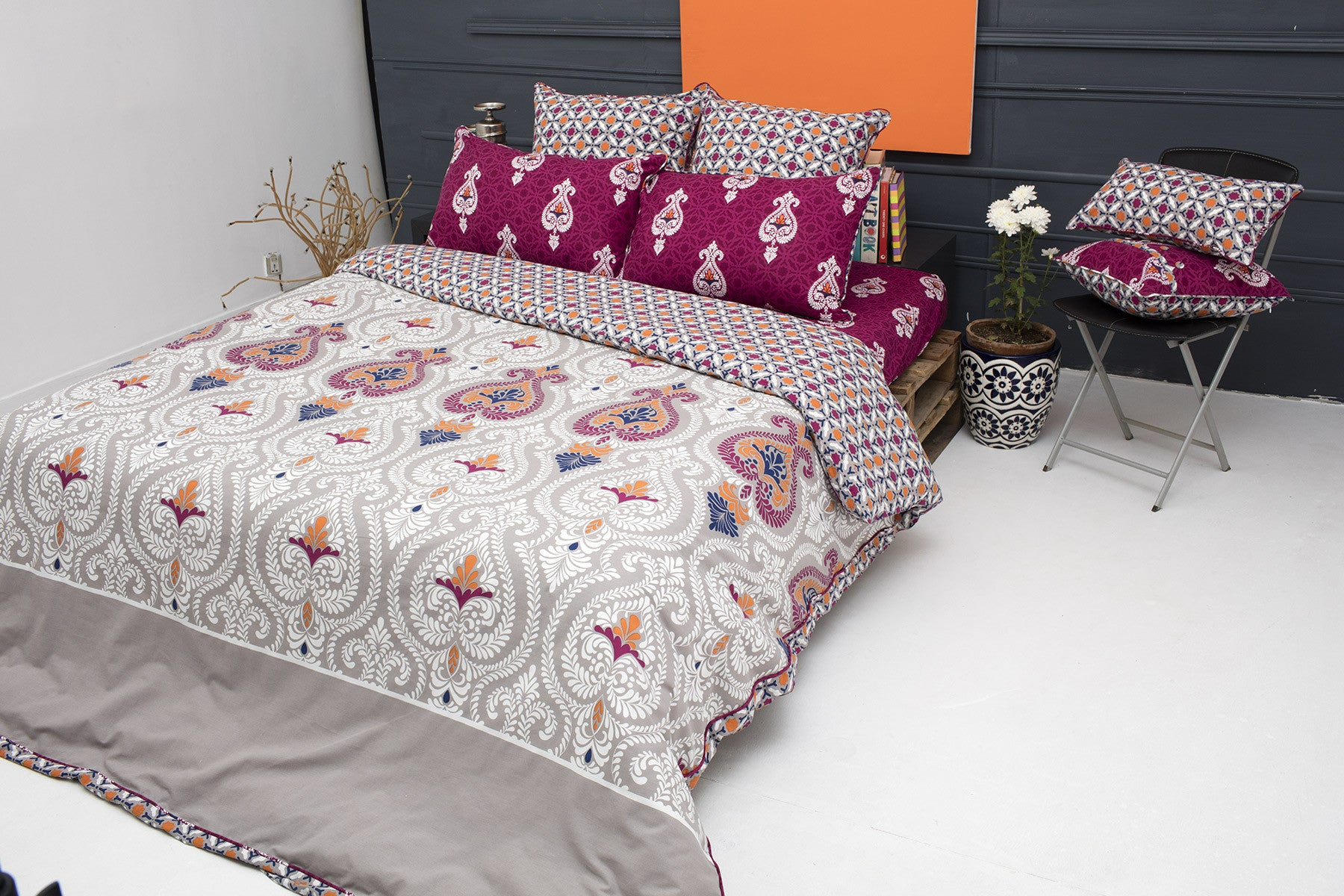 Bed sheet set with quilt - Opal Grey T 150 Quilt Cover Set