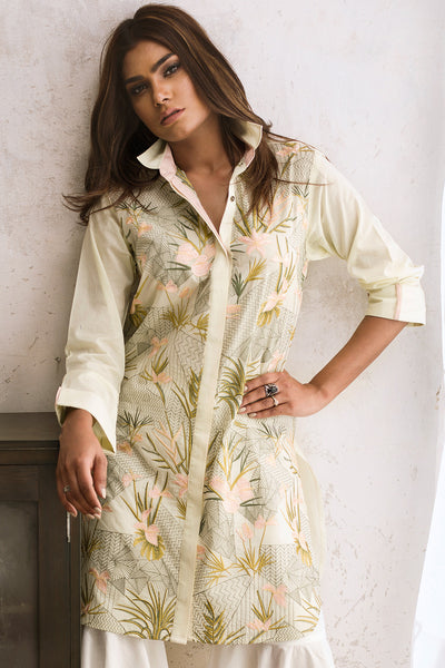 Light Green Embroidered Summer Lawn Shirt GLS-17-06