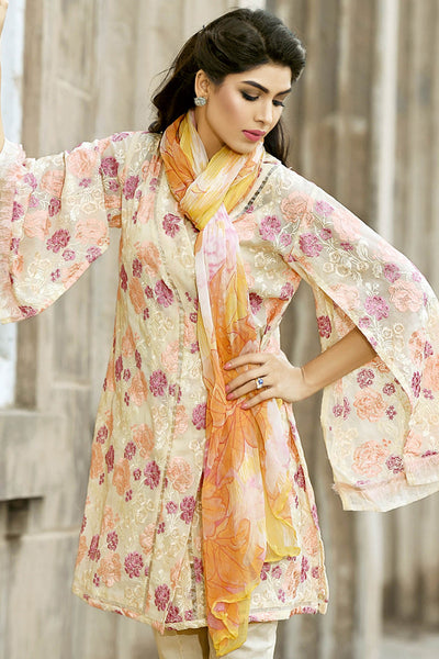 Beige 3 Pc Embroidered Blended Chiffon Dress BM-30