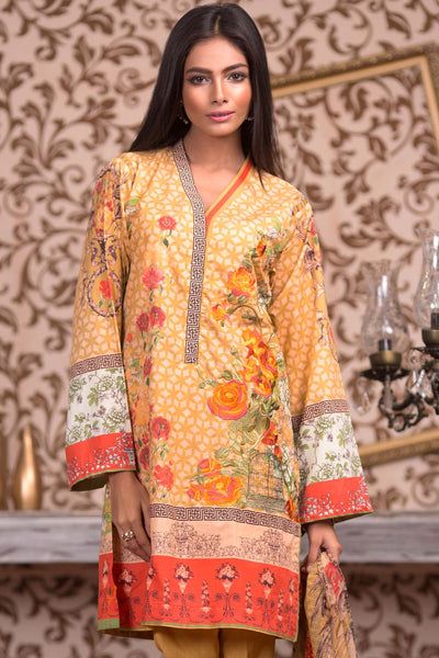 Mustard Blended Embroidered Chiffon BMSC-22