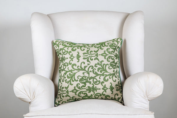 Cream Basil Embroidered Cushion Cover