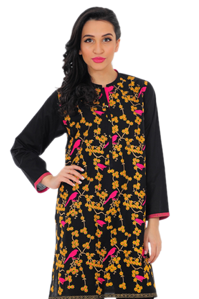 Black Cambric Embroidered Kurti - GLS-16-03