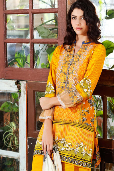 Yellow Embroidered Chiffon C-444