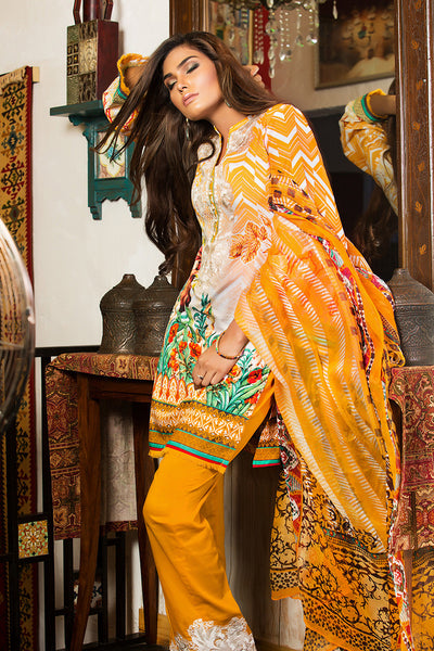 Mustard Embroidered Chiffon C-453