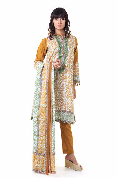 Mustard Cambric Stitched Suit - CBE-19 B