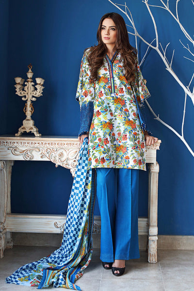 Blue Embroidered Cambric CBE-28 A