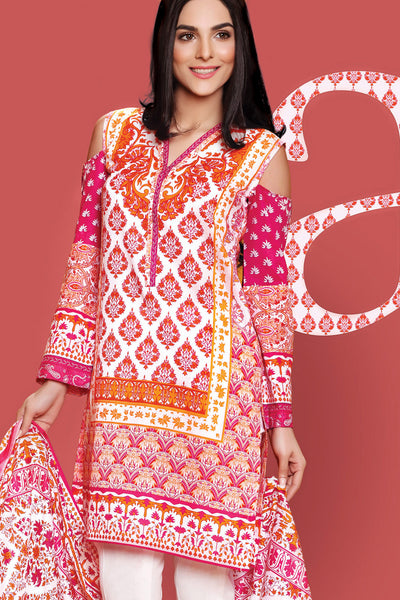 Red 3 Pc Printed Lawn Dress CL-211 B