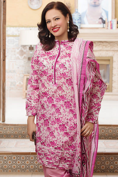 Pink 3 Pc Printed Lawn Dress CL-222 C