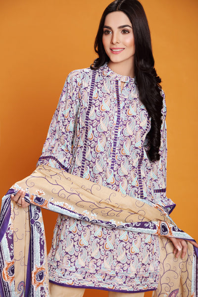 Purple 3 Pc Printed Lawn Dress CL-228 B