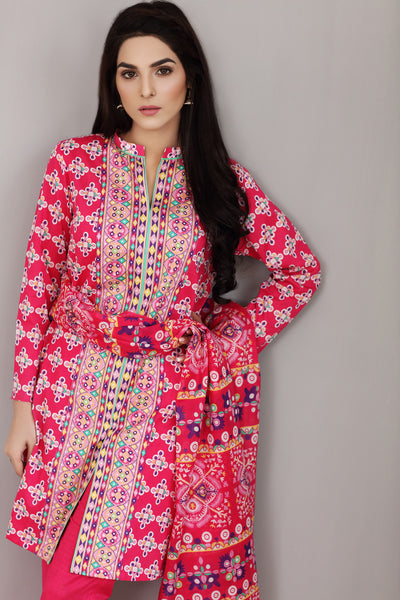 Pink 3 Pc Printed Lawn Dress CL-233 C