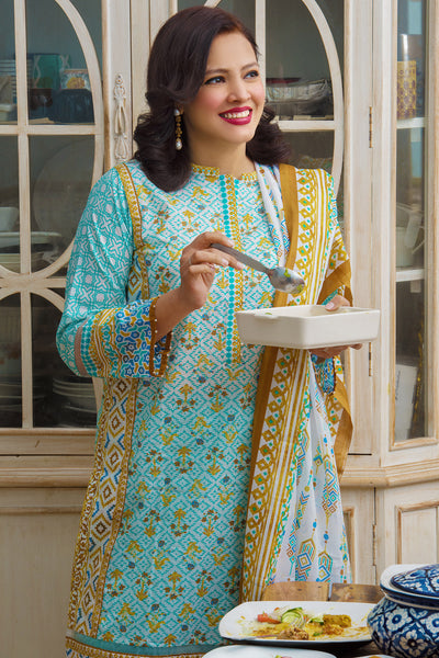 Turquoise 3 Pc Printed Lawn Dress CL-245 B