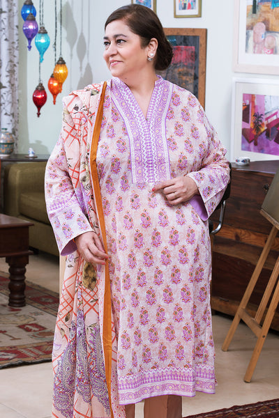 Peach 3 Pc Printed Lawn Dress CL-252 A